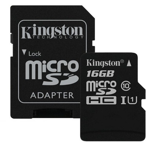 Карта MicroSD 16 ГБ Kingston Canvas Select UHS-I,U1, 80 Mb*s с адаптером