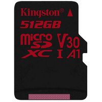 Карта MicroSD 512 ГБ Kingston Canvas React UHS-I,U3,V30,A1 с адаптером
