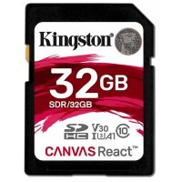 Карта памяти SDHC 32 ГБ Kingston Canvas React 666x (100 Mb*s)