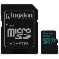 Карта MicroSD 32 ГБ Kingston Canvas Go UHS-I,U3,V30, 90 Mb*s с адаптером