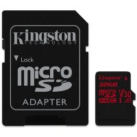 Карта MicroSD 32 ГБ Kingston Canvas React UHS-I,U3,V30, 100 Mb*s с адаптером