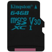 Карта MicroSD 64 ГБ Kingston Canvas Go UHS-I,U3,V30, 90 Mb*s