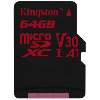 Карта MicroSD 64 ГБ Kingston Canvas React UHS-I,U3,V30, 100 Mb*s
