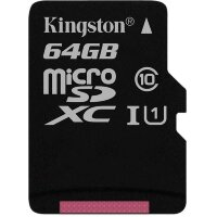 Карта MicroSD 64 ГБ Kingston Canvas Select UHS-I,U1, 80 Mb*s