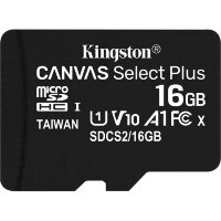 Карта MicroSD 16 ГБ Kingston Canvas Select Plus UHS-I U1 A1 V10 100 Mb*s