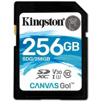 Карта памяти SDXC 256 ГБ Kingston Canvas Go 600x (90 Mb*s)