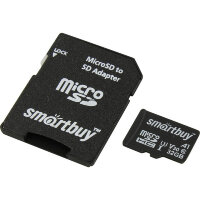 Карта MicroSD 32 ГБ SmartBuy Advanced UHS-I U3 V30 A1 90 Mb*s с адаптером