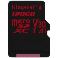 Карта MicroSD 128 ГБ Kingston Canvas React UHS-I,U3,V30, 100 Mb*s