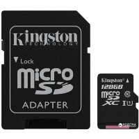 Карта MicroSD 128 ГБ Kingston Canvas Select UHS-I,U1, 80 Mb*s с адаптером