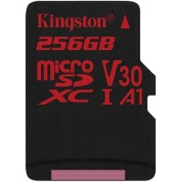 Карта MicroSD 256 ГБ Kingston Canvas React UHS-I,U3,V30, 100 Mb*s с адаптером