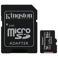Карта MicroSD 64 ГБ Kingston Canvas Select Plus 100 Mb*s с адаптером