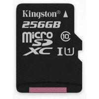 Карта MicroSD 256 ГБ Kingston Canvas Select UHS-I,U1, 80 Mb*s с адаптером