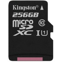 Карта MicroSD 256 ГБ Kingston Canvas Select UHS-I,U1, 80 Mb*s