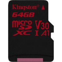 Карта MicroSD 64 ГБ Kingston Canvas React UHS-I,U3,V30, 100 Mb*s с адаптером